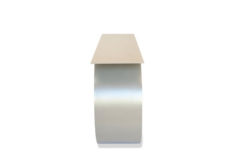 Whorl Console, in Beige Powder Coated Aluminum by Neal Aronowitz In New Condition For Sale In Portland, OR