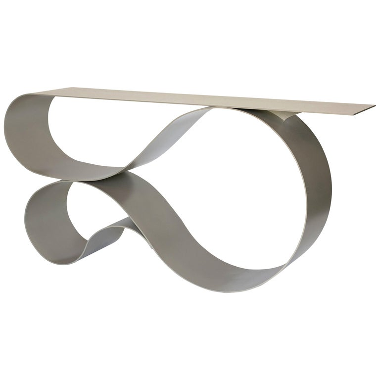Whorl Console, in Beige Powder Coated Aluminum by Neal Aronowitz For Sale
