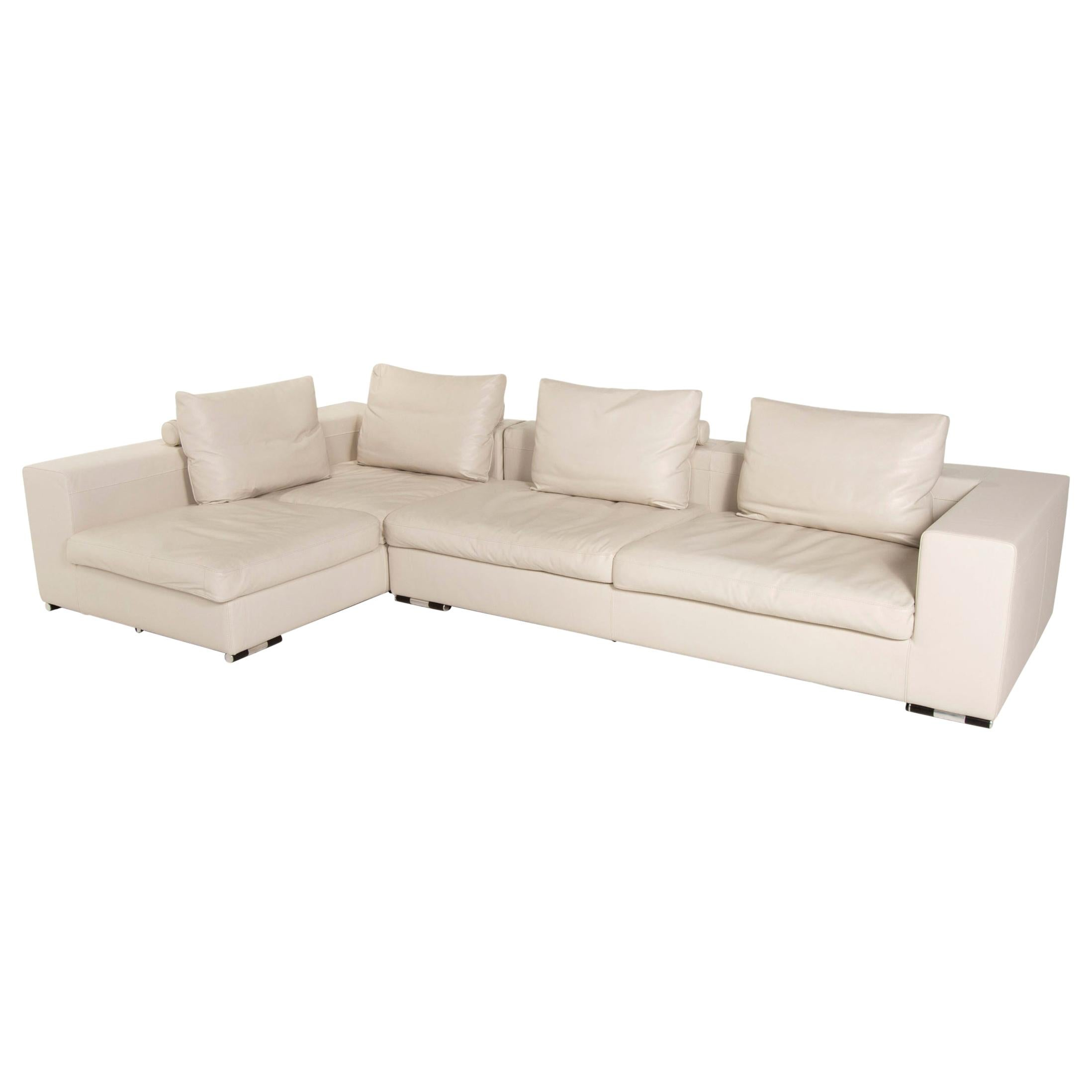 Who's Perfect Creme Leather Corner Sofa