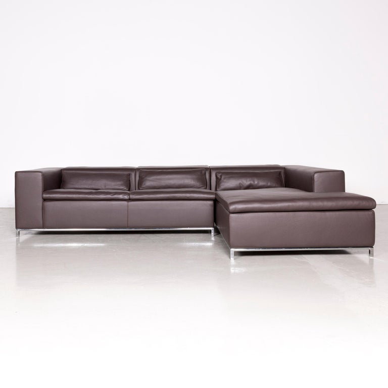 Who\'s Perfect Designer Leather Corner-Sofa Brown Couch For Sale at ...
