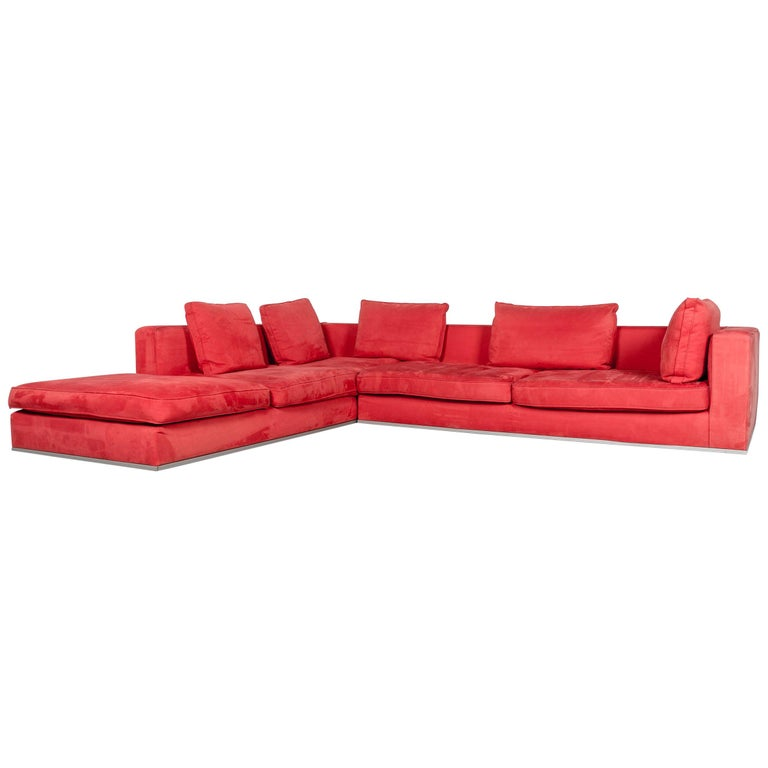 Who\'s Perfect Fabric Corner-Sofa Red Couch