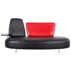 Who's Perfect Leather Sofa Black, Two-Seat Couch