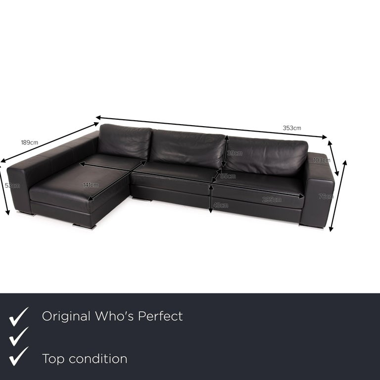 We present to you a Who's Perfect Manhattan leather sofa black corner sofa couch.     Product measurements in centimeters:    Depth: 103 Width: 189 Height: 76 Seat height: 43 Rest height: 61 Seat depth: 55 Seat width: 141 Back height: