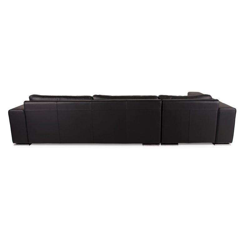 Contemporary Who's Perfect Manhattan Leather Sofa Black Corner Sofa Couch For Sale