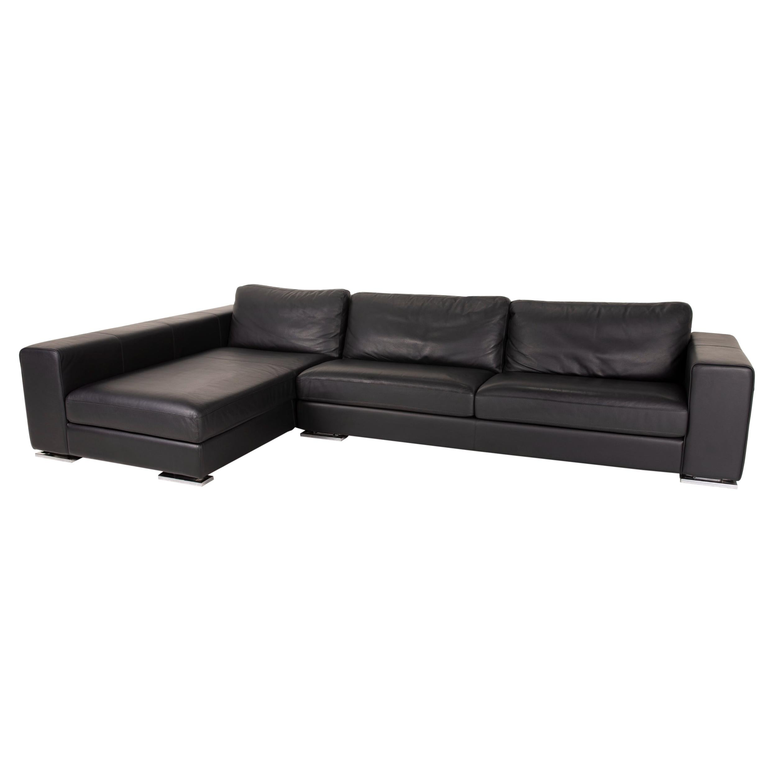 Who's Perfect Manhattan Leather Sofa Black Corner Sofa Couch