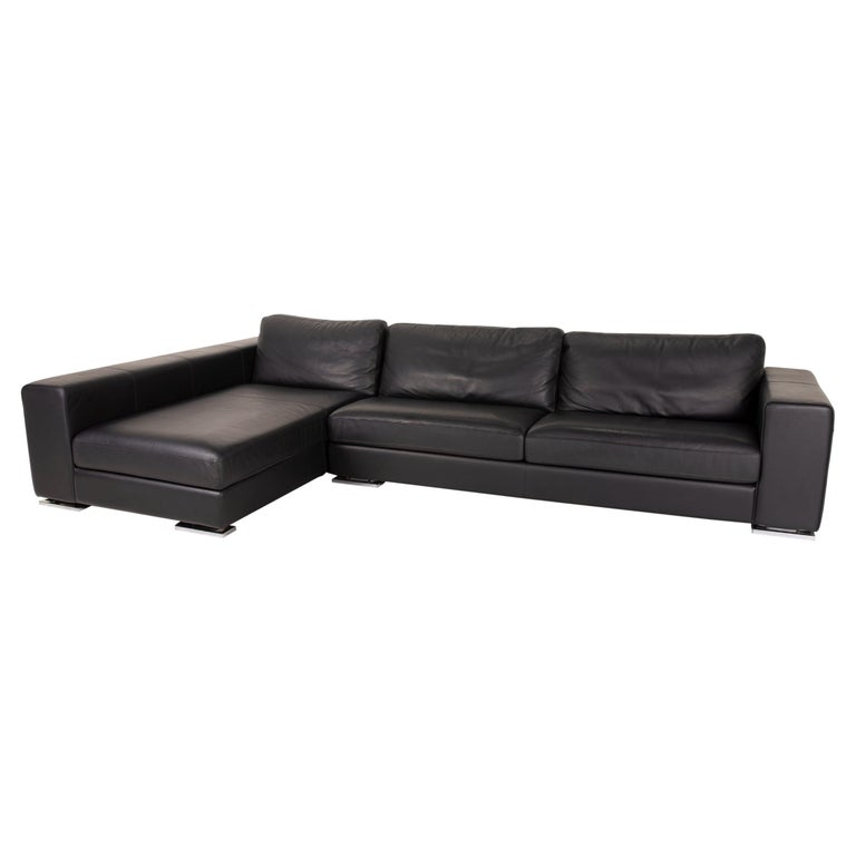 Who's Perfect Manhattan Leather Sofa Black Corner Sofa Couch For Sale