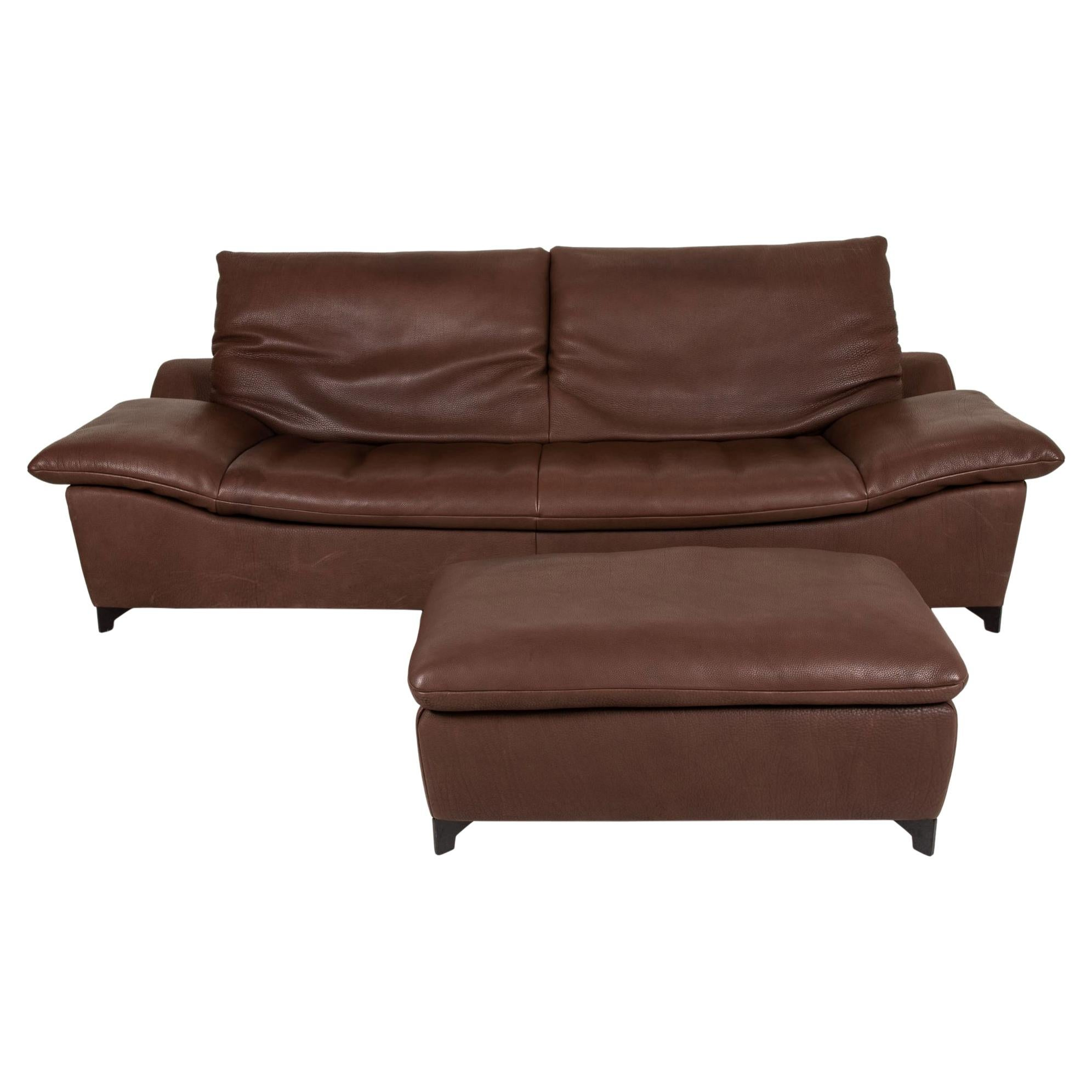 Who's Perfect Minnesota Leather Sofa Set Brown 1 Three-Seater 1 Stool Function