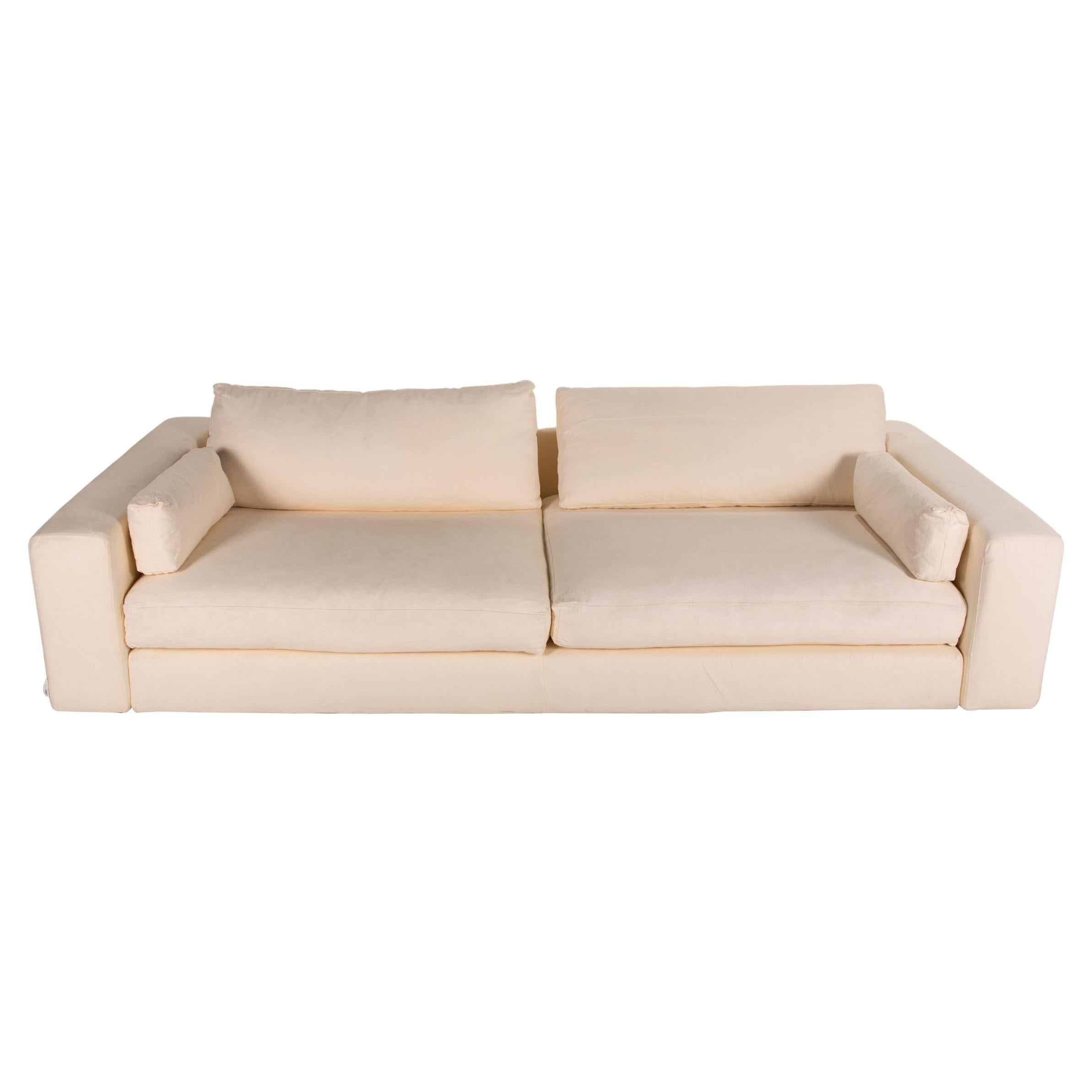 Who's Perfect Summer Fabric Sofa Cream Four Seater Couch