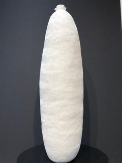 Hue, gourd series, white ceramic abstract gourd, vertical, contemporary, Maori