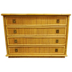 Wicker and Bamboo Chest of Drawers by Dal Vera, 1960s