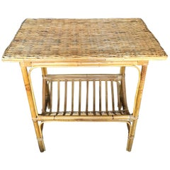 Wicker and Bamboo Side Table