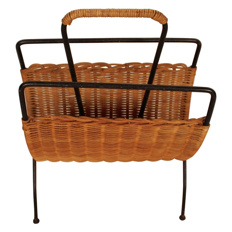 Wicker and Black Metal Magazine Holder by Raoul Guys, France, 1950 For Sale