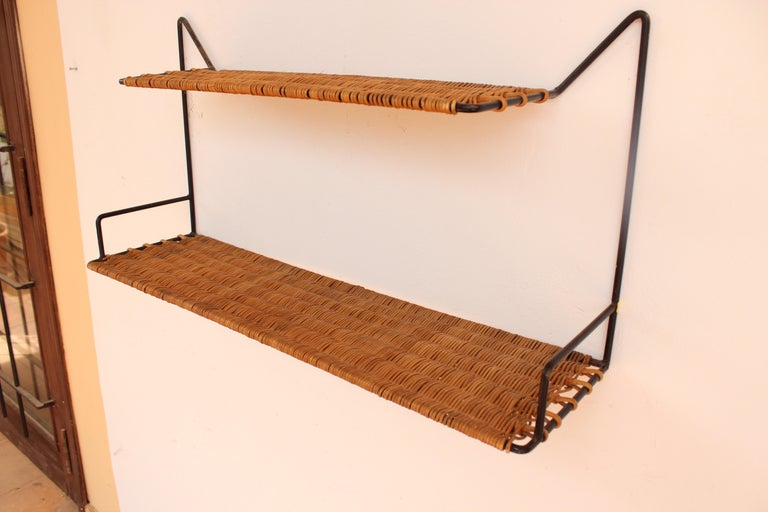 Wicker and Black Metal Shelf by Raoul Guys, France, 1950 4