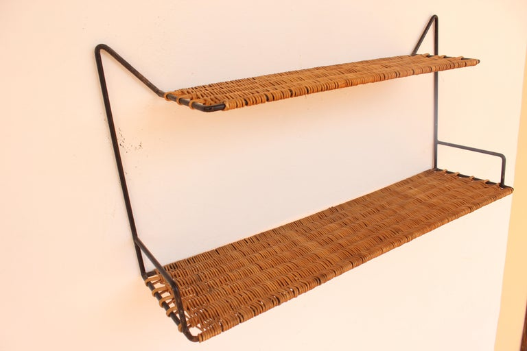 Wicker and Black Metal Shelf by Raoul Guys, France, 1950 5