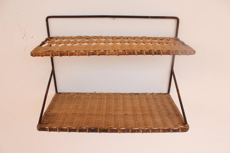 Mid-Century Modern Wicker and Black Metal Shelf by Raoul Guys, France, 1950