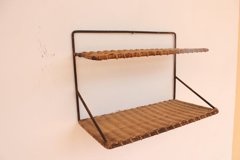 French Wicker and Black Metal Shelf by Raoul Guys, France, 1950