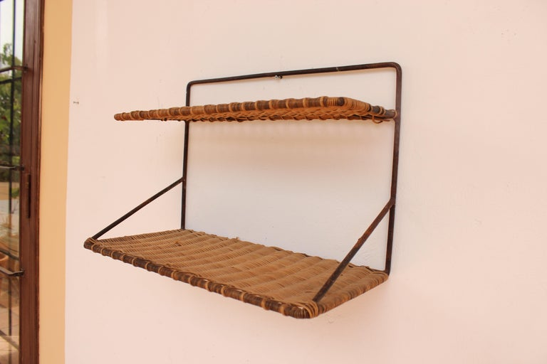 Wicker and Black Metal Shelf by Raoul Guys, France, 1950 In Good Condition In Santa Gertrudis, Baleares
