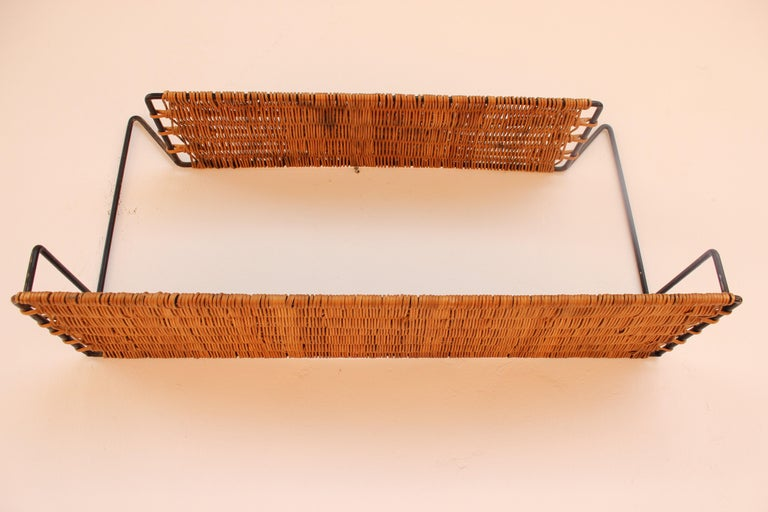 Wicker and Black Metal Shelf by Raoul Guys, France, 1950 1
