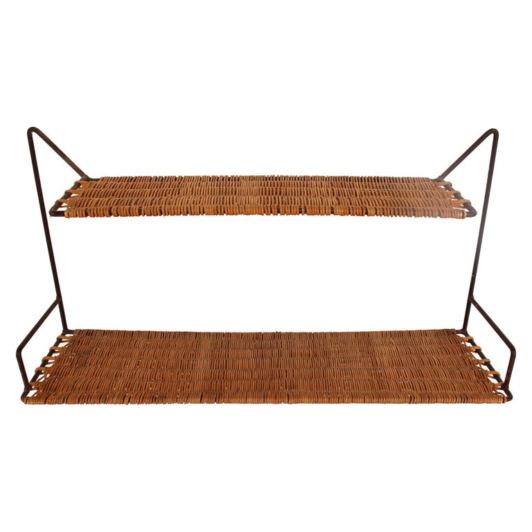 Wicker and Black Metal Shelf by Raoul Guys, France, 1950