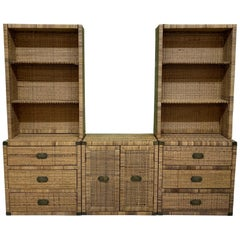 Wicker and Brass 3-Piece Wall Unit