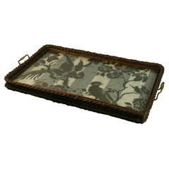 Wicker and Brass Serving Tray 1940's