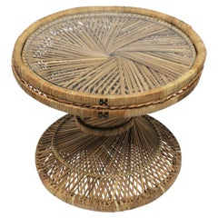 Wicker and Glass Round Side or Drinks Table