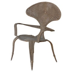 Wicker and Iron Armchair by Danny Ho Fong, 1960s.