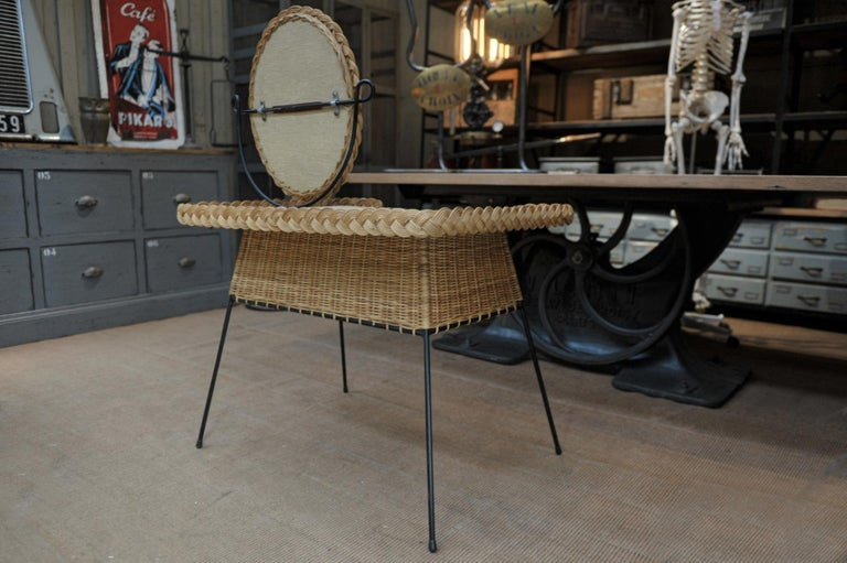 French Wicker and Iron Dressing Table with Swiveling Mirror and His Chair, circa 1960s For Sale