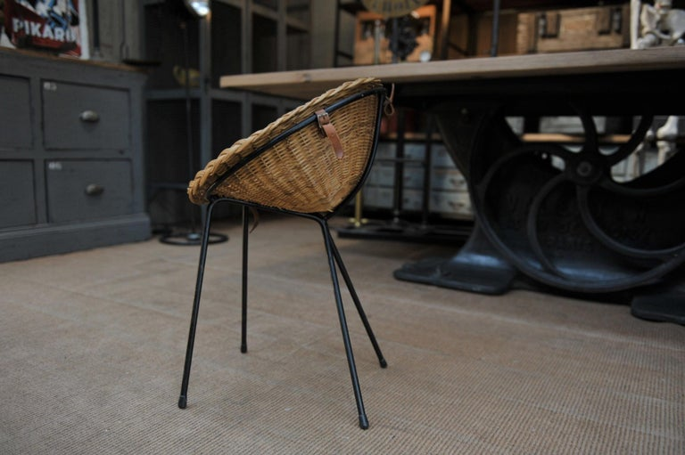 Mid-20th Century Wicker and Iron Dressing Table with Swiveling Mirror and His Chair, circa 1960s For Sale