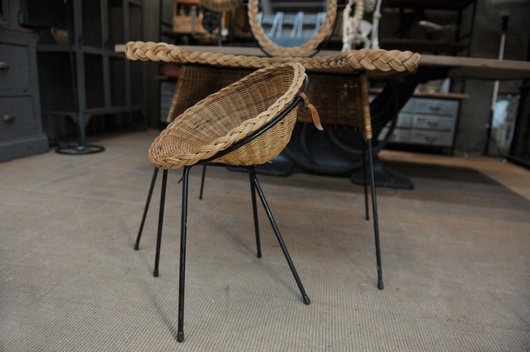 Wicker and Iron Dressing Table with Swiveling Mirror and His Chair, circa 1960s For Sale 2