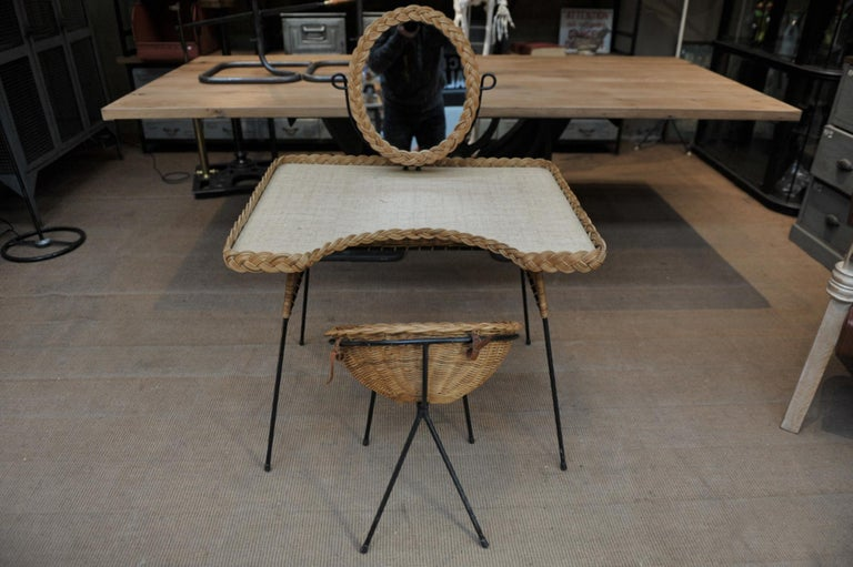 Wicker and Iron Dressing Table with Swiveling Mirror and His Chair, circa 1960s For Sale 3