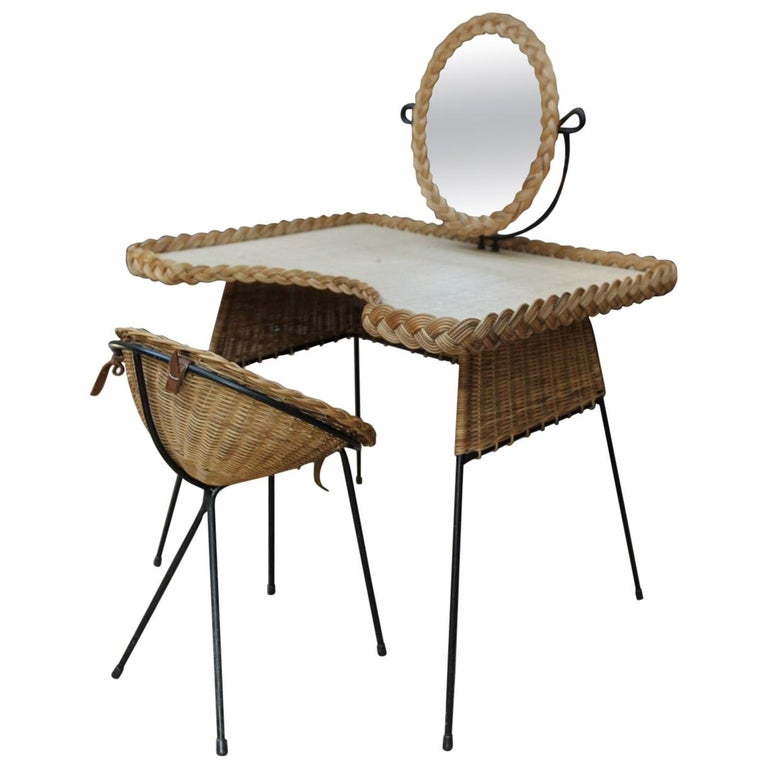 Wicker and Iron Dressing Table with Swiveling Mirror and His Chair, circa 1960s For Sale