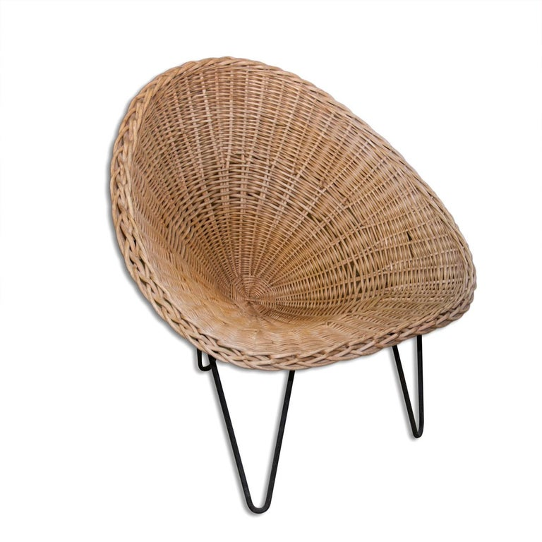 wicker and iron lounge chair france midcentury 1950s for sale at