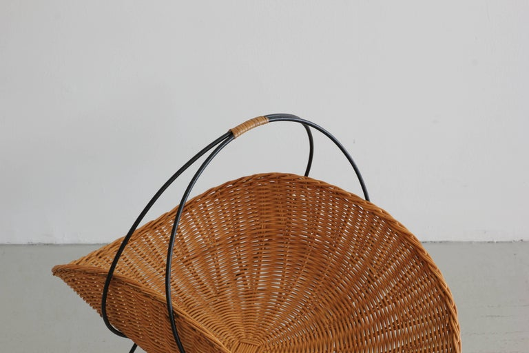 Mid-20th Century Wicker and Iron Magazine Rack For Sale