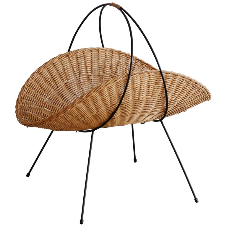 Wicker and Iron Magazine Rack For Sale