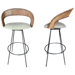 Wicker and Iron Swivel Barstools by Arthur Umanoff, Set of Two
