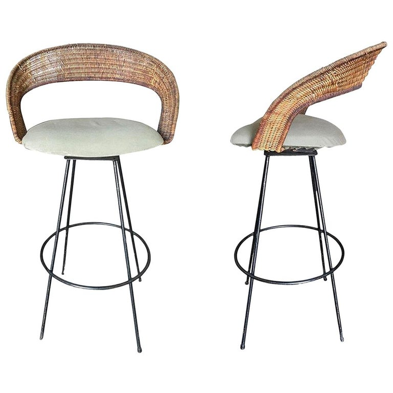 Wicker And Iron Swivel Barstools By Arthur Umanoff Set Of Two