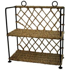 Wicker and Iron Two Level Shelve