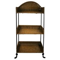 Wicker and Metal 3-Tier Shelf/Side Table