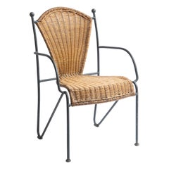 Wicker and Painted Iron Childs Chair