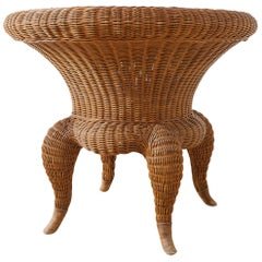 Wicker and Rattan Round Occasional or Center Table