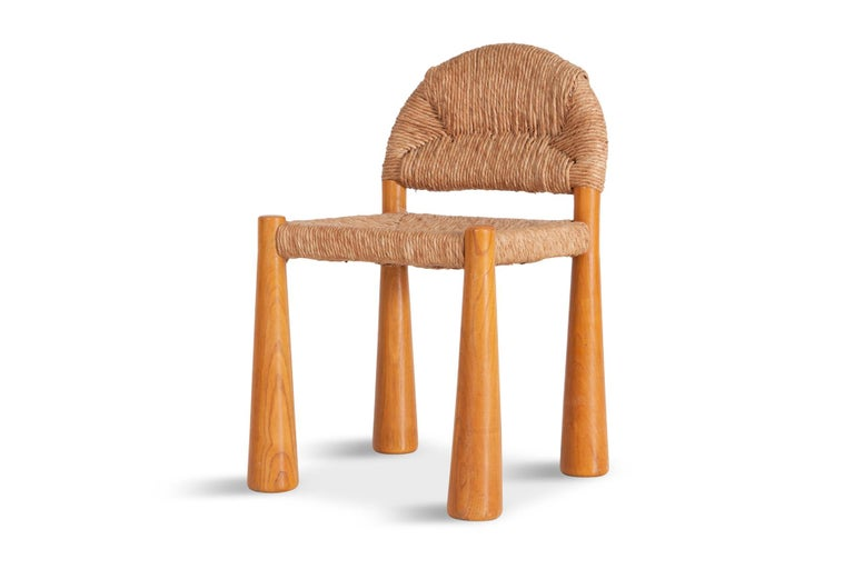 Wicker and Solid Pine Toscanolla Chairs by Alessandro Becchi for Giovanetti 1970 For Sale 4