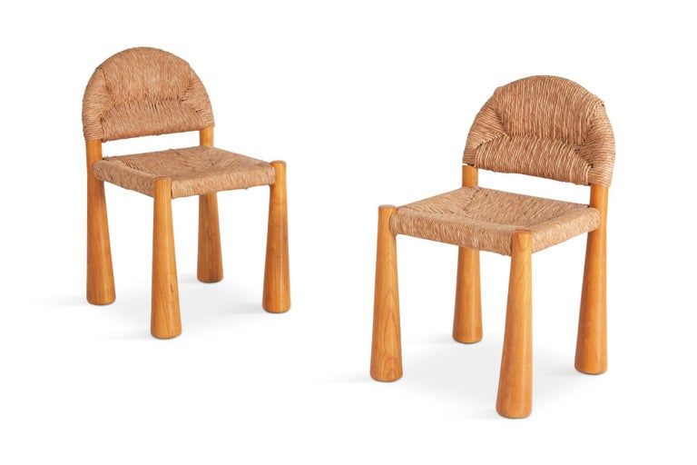 Italian Wicker and Solid Pine Toscanolla Chairs by Alessandro Becchi for Giovanetti 1970 For Sale