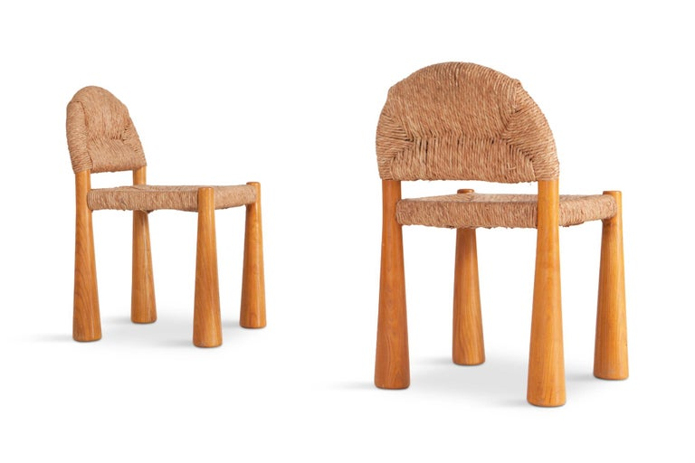 Wicker and Solid Pine Toscanolla Chairs by Alessandro Becchi for Giovanetti 1970 In Good Condition For Sale In Antwerp, BE
