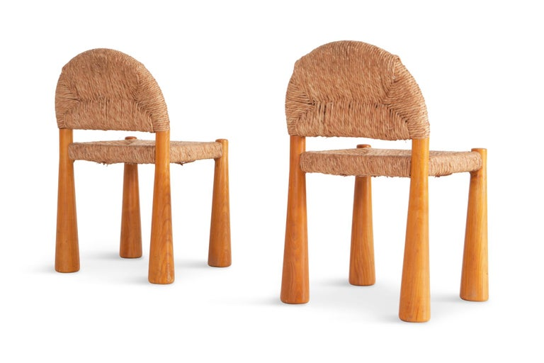 Late 20th Century Wicker and Solid Pine Toscanolla Chairs by Alessandro Becchi for Giovanetti 1970 For Sale