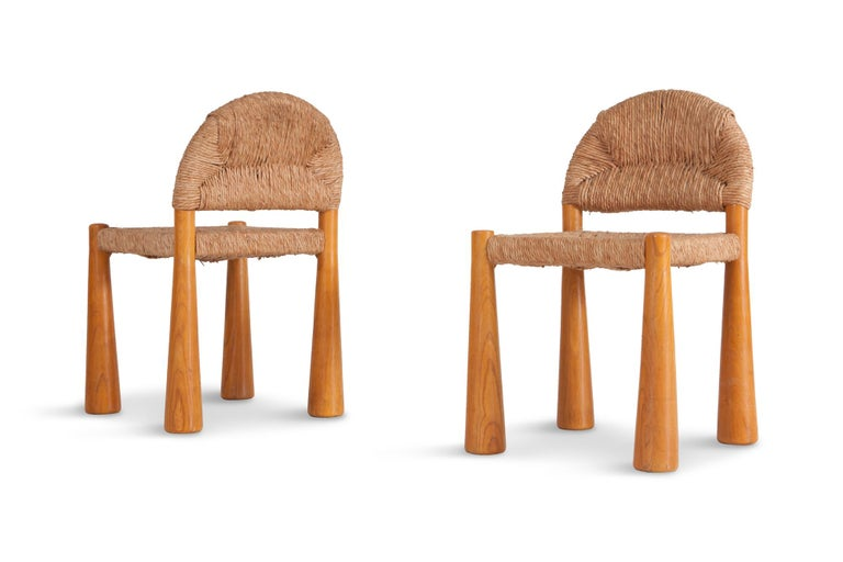 Wicker and Solid Pine Toscanolla Chairs by Alessandro Becchi for Giovanetti 1970 For Sale 1