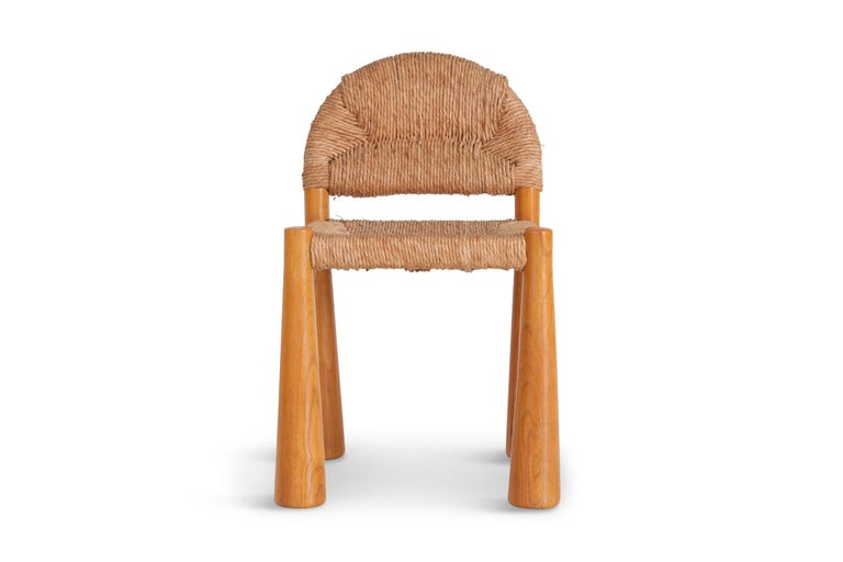 Wicker and Solid Pine Toscanolla Chairs by Alessandro Becchi for Giovanetti 1970 For Sale 3