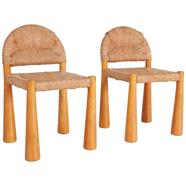 Wicker and Solid Pine Toscanolla Chairs by Alessandro Becchi for Giovanetti 1970 For Sale