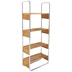 Wicker and Tubular Chrome Storage Shelves/Display