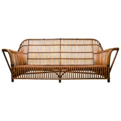 Wicker Antique Mid-Century Sofa